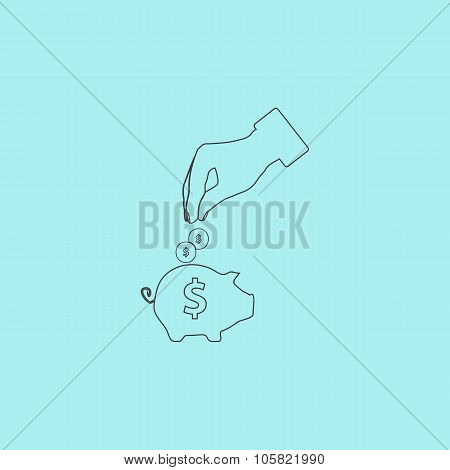 piggy bank and hand with coin icon