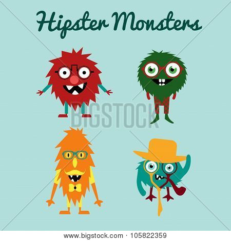 Vector set  of freaky cute retro hipster alien monsters