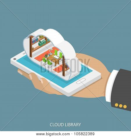 Cloud library flat isometric vector concept.