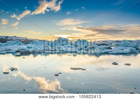 Scenic View Of Icebergs In Glacier Lagoon, Iceland