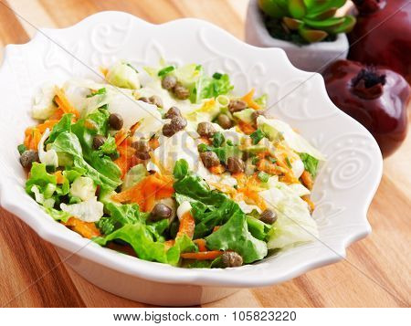 Salad With Carrots, Arugula And Capers