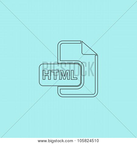 HTML file extension icon vector.