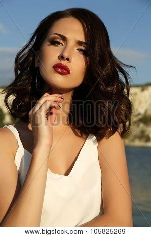 Beautiful Woman With Short Dark Hair Wears Elegant Dress