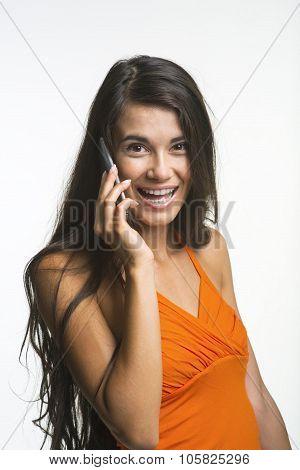 Happy lady on white background.