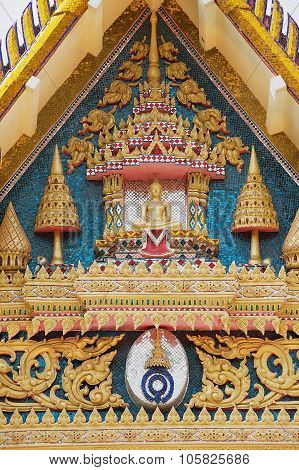 Exterior detail of the temple decoration at Wat Khunaram in Koh Samui, Thailand.