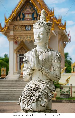 Exterior of the Buddha statue in front of the Wat Khunaram temple in Koh Samui, Thailand.
