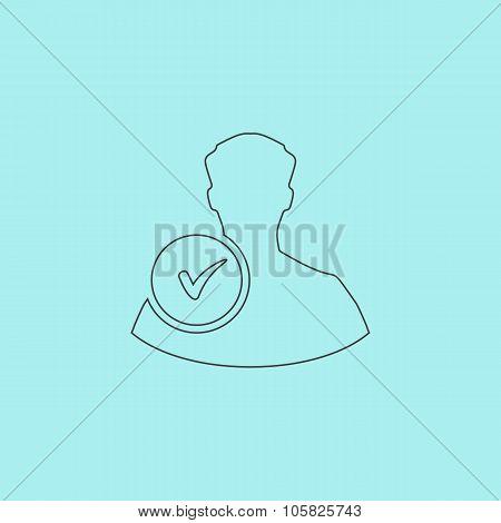 User profile sign web icon with check mark glyph