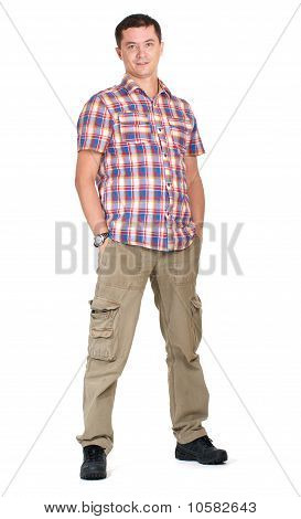 Man In Cargo Pants Isolated On White