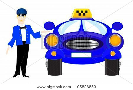 Chauffeur taxi on white background