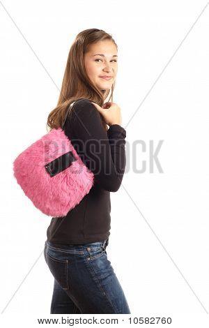Girl With Pink Handbag