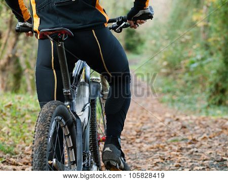 Cyclist Standing In Front Of A Path Of The Forest