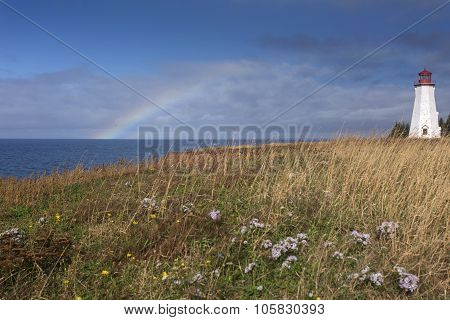 rainbow at Seacow Head Lighthouse; Prince Edward Island