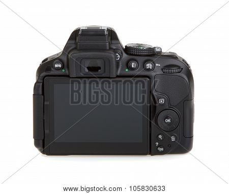 Kyiv, Ukraine - June 19, 2015: Nikon D5300 Camera Body On White Background