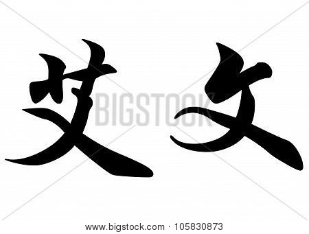 English Name Ewen In Chinese Calligraphy Characters