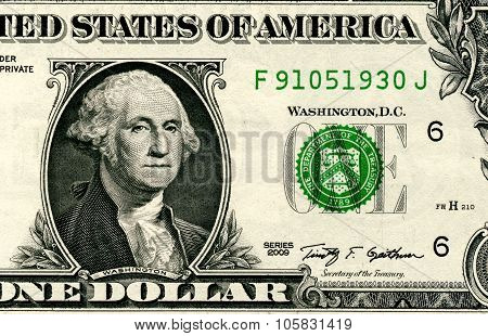 Close Up Of One Dollar Isolated On White Background