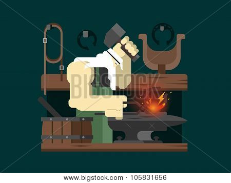 Blacksmith character cartoon