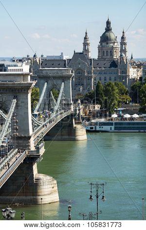 BUDAPEST, HUNGARY - SEPT 20, 2015: The Danube Promenade. Pest panorama of the Danube - UNESCO world heritage site.