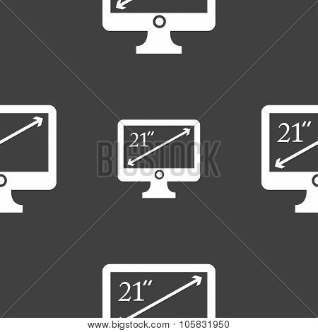 Diagonal Of The Monitor 21 Inches Icon Sign. Seamless Pattern On A Gray Background. Vector