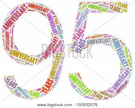 Anniversary Or Jubilee Concept. Word Cloud Illustration