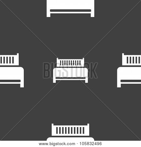 Hotel, Bed Icon Sign. Seamless Pattern On A Gray Background. Vector