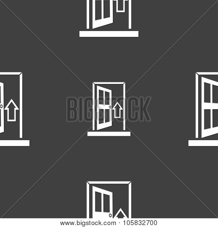 Door, Enter Or Exit Icon Sign. Seamless Pattern On A Gray Background. Vector