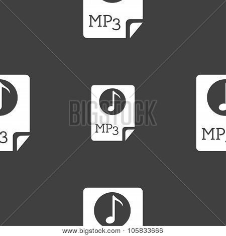 Audio, Mp3 File Icon Sign. Seamless Pattern On A Gray Background. Vector