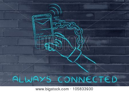 Hand Chained To A Mobile, illustration about being always connected