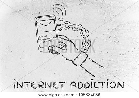 Hand Chained To A Mobile, illustration about internet addiction