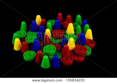 Board Game Pieces On Black Background
