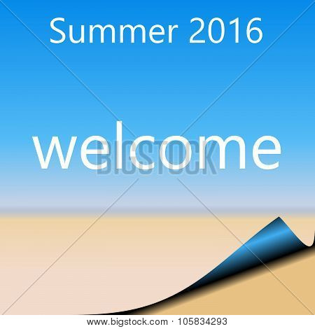 Summer 2016 Abstract page with blue sky and sandy beach.  WELCOME with page curl bottom right
