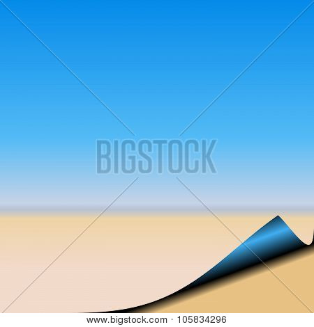 Abstract page of summer beach with a blue sky.  Page curl bottom right