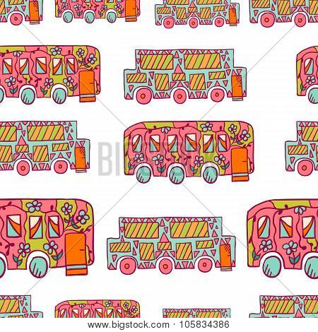 Seamless Pattern With Doodle Recreational Vechicles-3