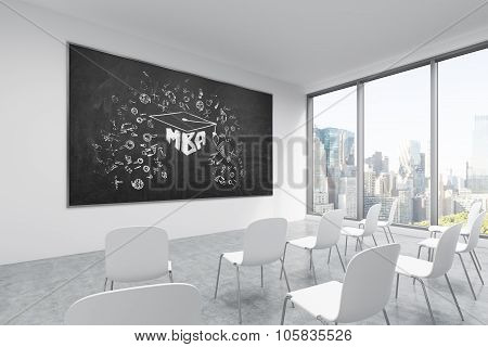 A Classroom Or Presentation Room In A Modern University Or Fancy Office. White Chairs, A Black Chalk