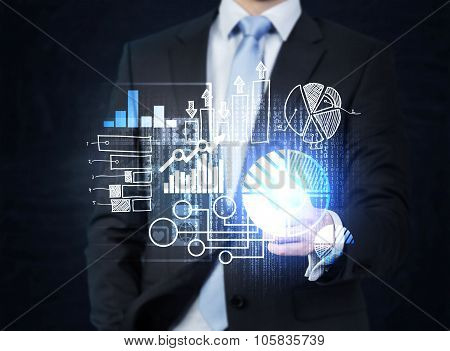 A Businessman In Formal Suit Is Pushing Out The Element On The Hologram With Business Icons. Dark Ba