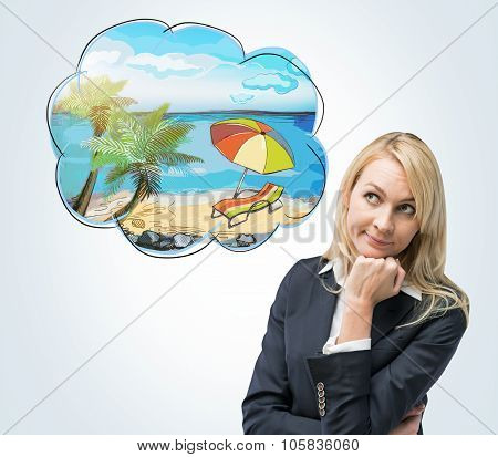 A Portrait Of A Thoughtful Blonde Woman Who Dreams About Summer Vacation On The Beach. A Nice Summer