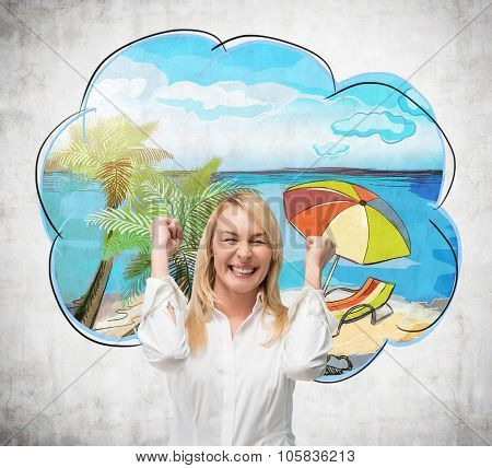 Happy Girl With Fists Is Dreaming About Summer Vacation. Concrete Background.