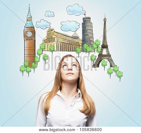 A Beautiful Woman Is Looking Up By Dreaming About The Visiting Of The Most Famous European Cities. T