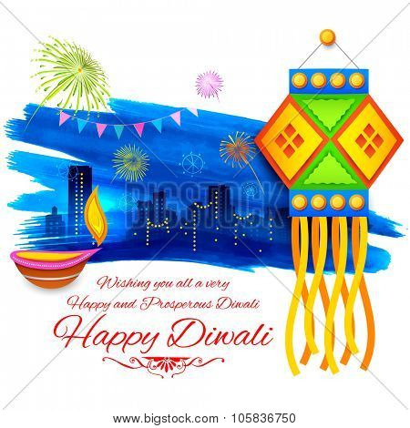 illustration of Happy Diwali background with colorful kandil on city backdrop