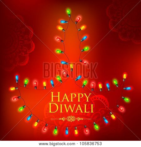 illustration of Happy Diwali background decorated with light garland arrangement in diya shape