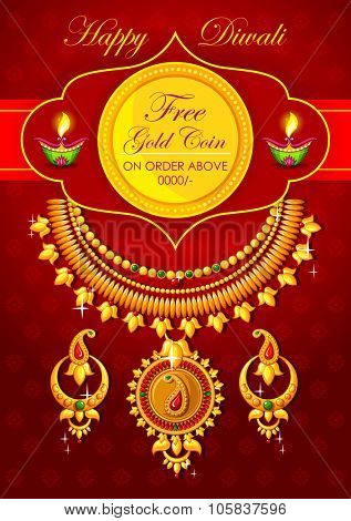 illustration of Happy Diwali jewelery promotion background with diya