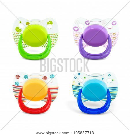 Latex Pacifier With Transparent Protective Plastic Cap Isolated On White With Path