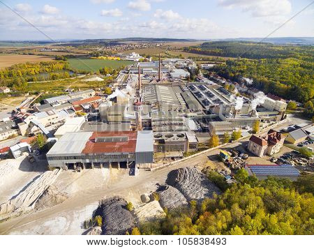 Aerial view to industrial zone and technology park near Pilsen city in Czech Republic, Europe.