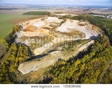 Chlumcany kaolin quarry near Pilsen in Czech Republic. Industrial landscape after mining.