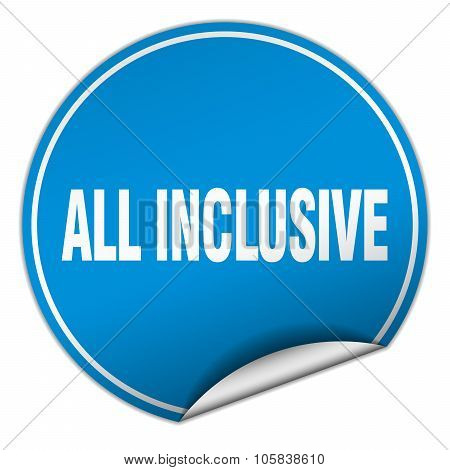 All Inclusive Round Blue Sticker Isolated On White