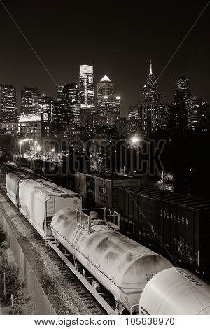 PHILADELPHIA, PENNSYLVANIA - MAR 26: city skyline with train on March 26, 2015 in Philadelphia. It is the largest city in Pennsylvania and the fifth in the United States.