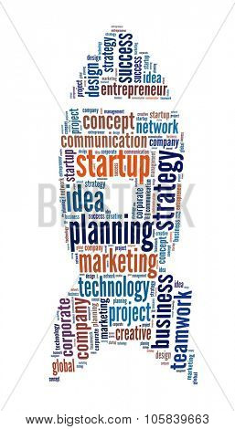 Startup in word collage