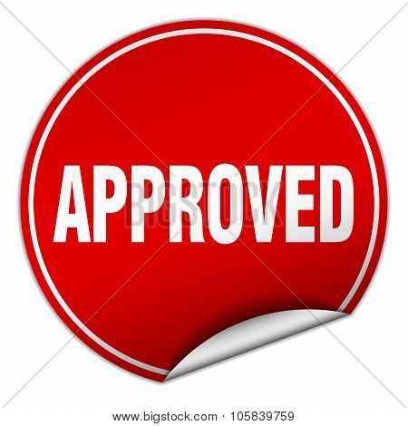 Approved Round Red Sticker Isolated On White