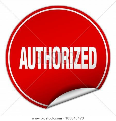 Authorized Round Red Sticker Isolated On White