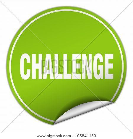 Challenge Round Green Sticker Isolated On White
