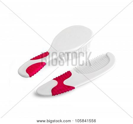 Baby And Kids Hairbrush And Comb Isolated On White With Path
